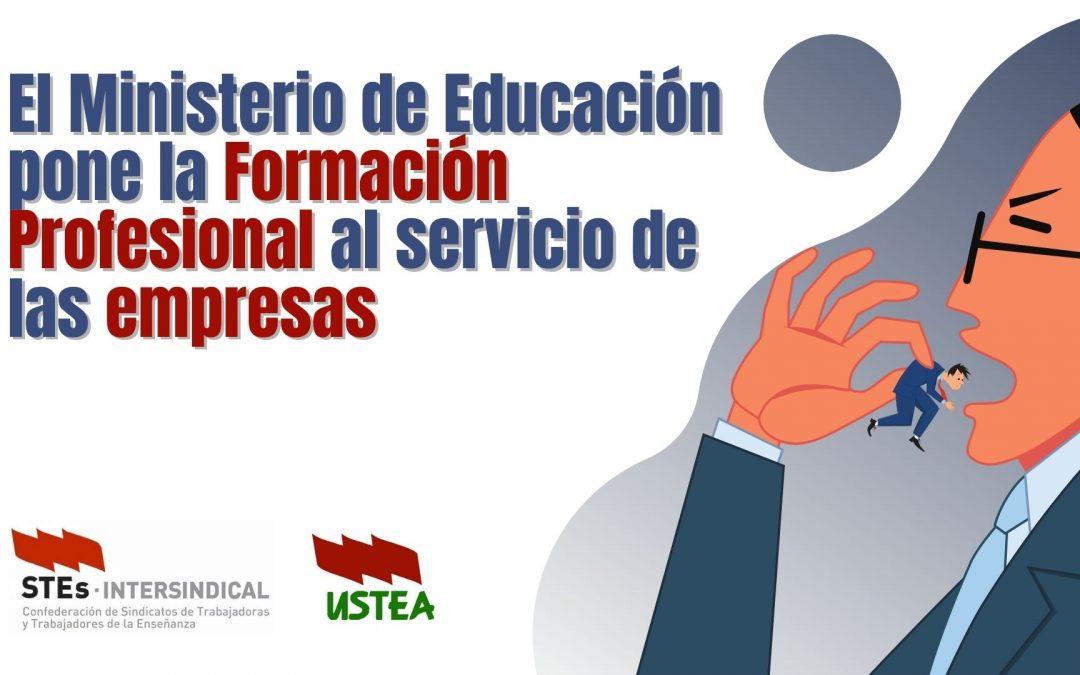 USTEA denuncia que el Ministerio de Educación pone la Formación Profesional al servicio de las empresas