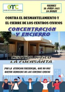 Encierro en el Centro Cívico Fuensanta contra el cierre de estos equipamientos ciudadanos @ Centro Cívico Fuensanta