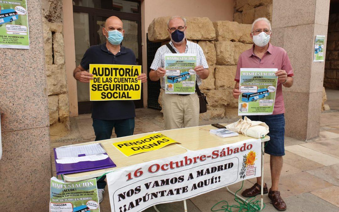 La Plataforma Cordobesa en Defensa de las Pensiones Públicas instala una mesa informativa sobre la acción en Madrid el 16 de octubre